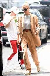 pants,hailey baldwin,suit,celebrity,top,crop tops,blazer