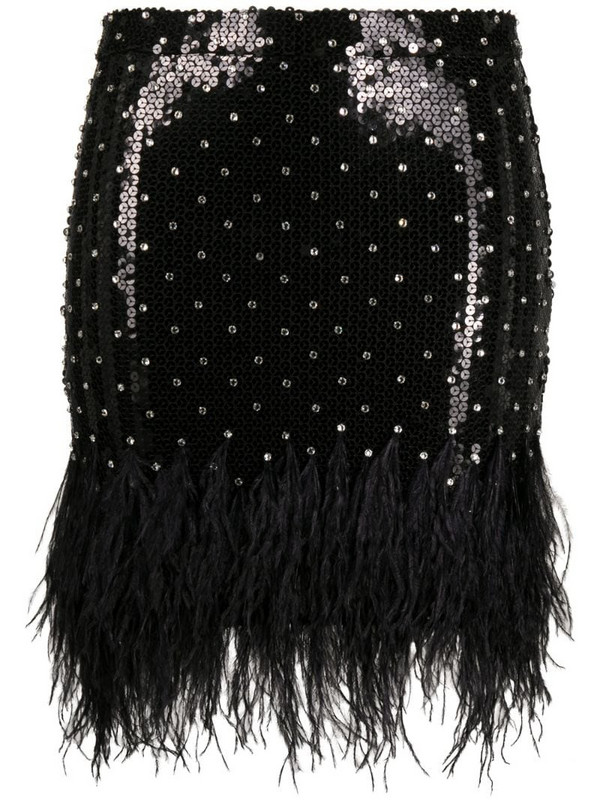 Amen feather-trimmed sequin mini skirt in black