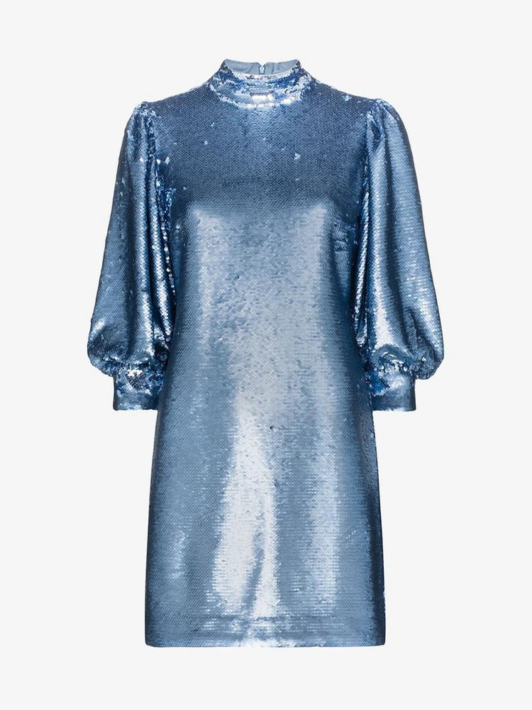 Ganni sequin-embellished mini dress in blue