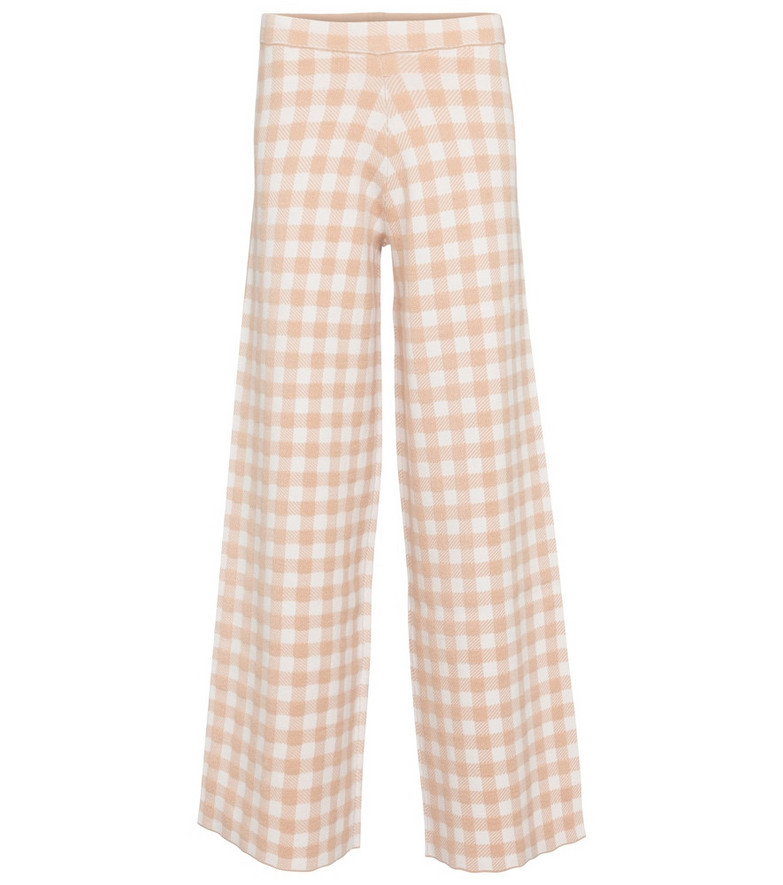 Staud Avalanche gingham wide-leg pants in pink