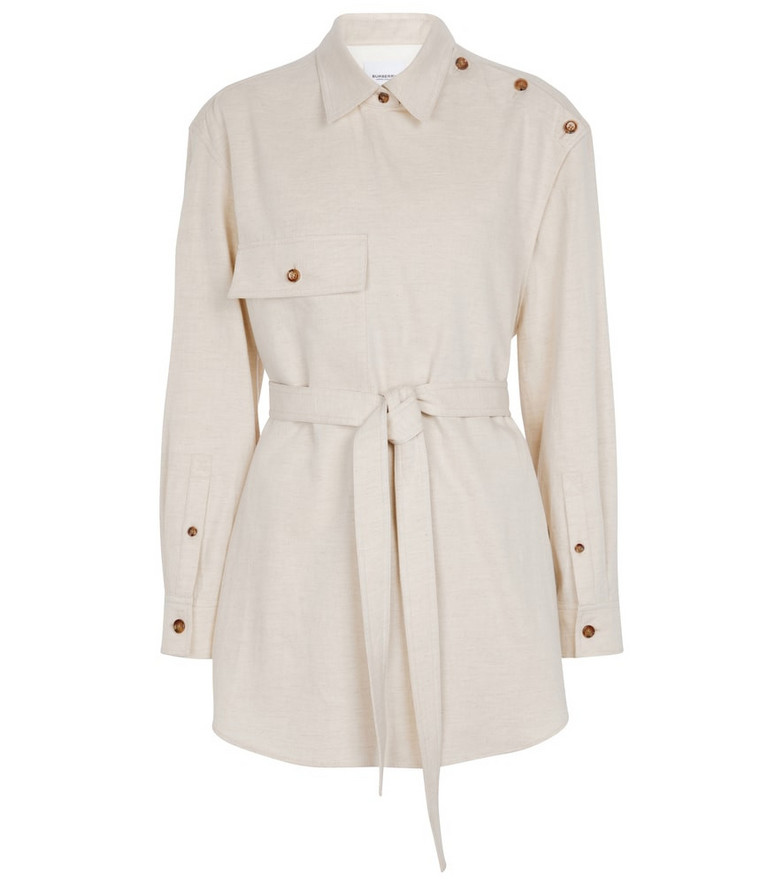 Burberry Belted cotton-blend shirt in white