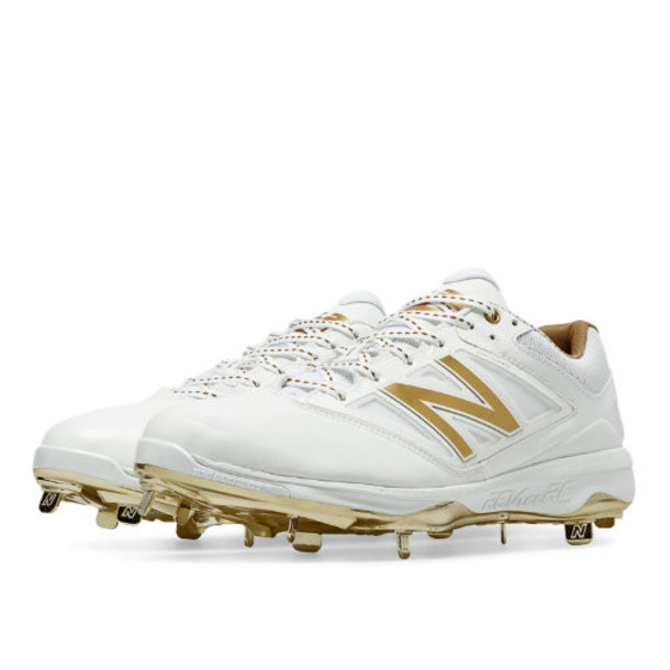 New Balance Low-Cut Bold and Gold Hero 4040v3 Metal Cleat Men's Low-Cut Cleats Shoes - White, Gold (L4040WG3)