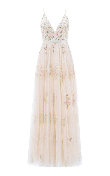 Needle & Thread Petunia Floral-Embroidered Tulle Gown Size: 4 in neutral