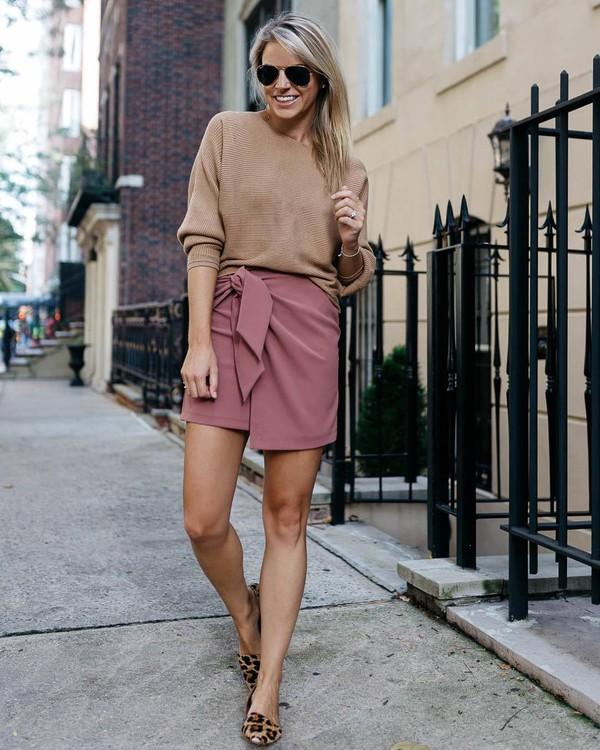 skirt mini skirt high waisted skirt topshop wrap skirt pink skirt leopard print ballet flats sweater sunglasses