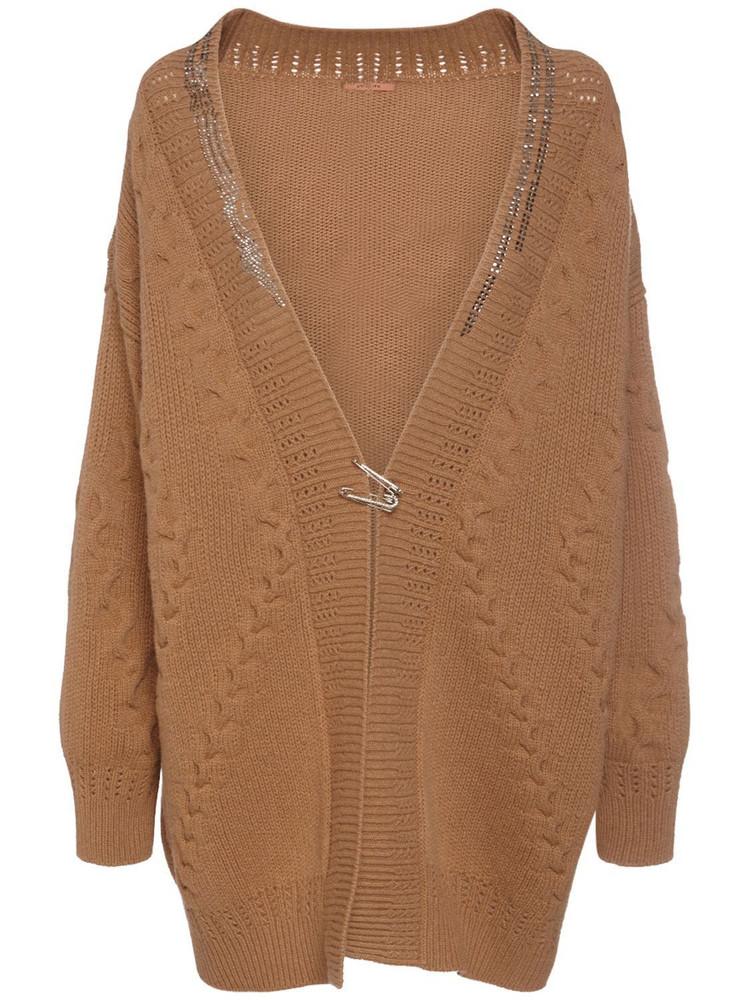 ERMANNO SCERVINO Oversize Wool & Cashmere Knit Cardigan in camel