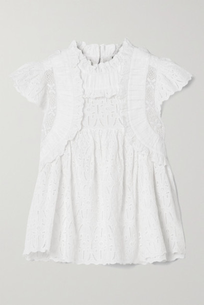 Sea - Ingrid Ruffled Crochet-trimmed Broderie Anglaise Cotton Blouse - White