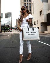bag,white bag,ysl bag,sandals,white jeans,skinny jeans,white blouse