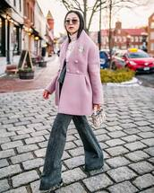 coat,wool coat,pink coat,delpozo,mohair,flare pants,high waisted pants,white turtleneck top,handbag