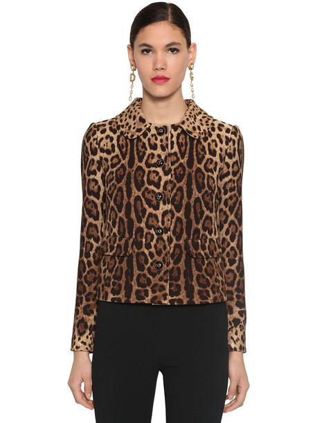 DOLCE & GABBANA Wool Double Crepe Printed Short Jacket in leopard