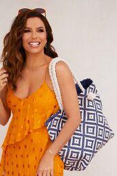 dress,polka dots,orange dress,orange,eva longoria,celebrity,editorial