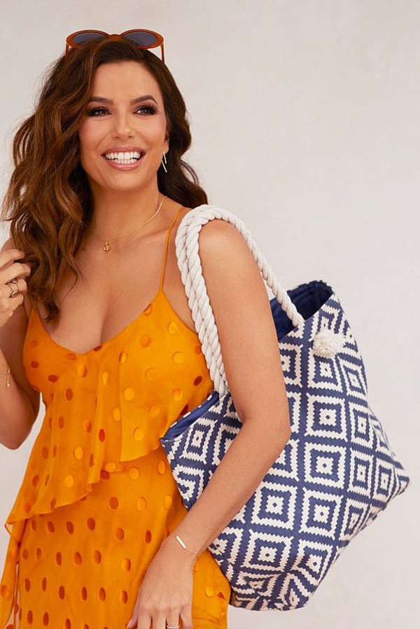 dress polka dots orange dress orange eva longoria celebrity editorial