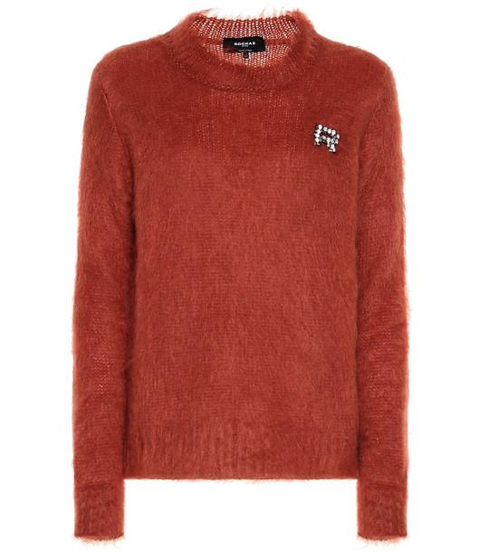 Rochas Embellished mohair-blend sweater in orange