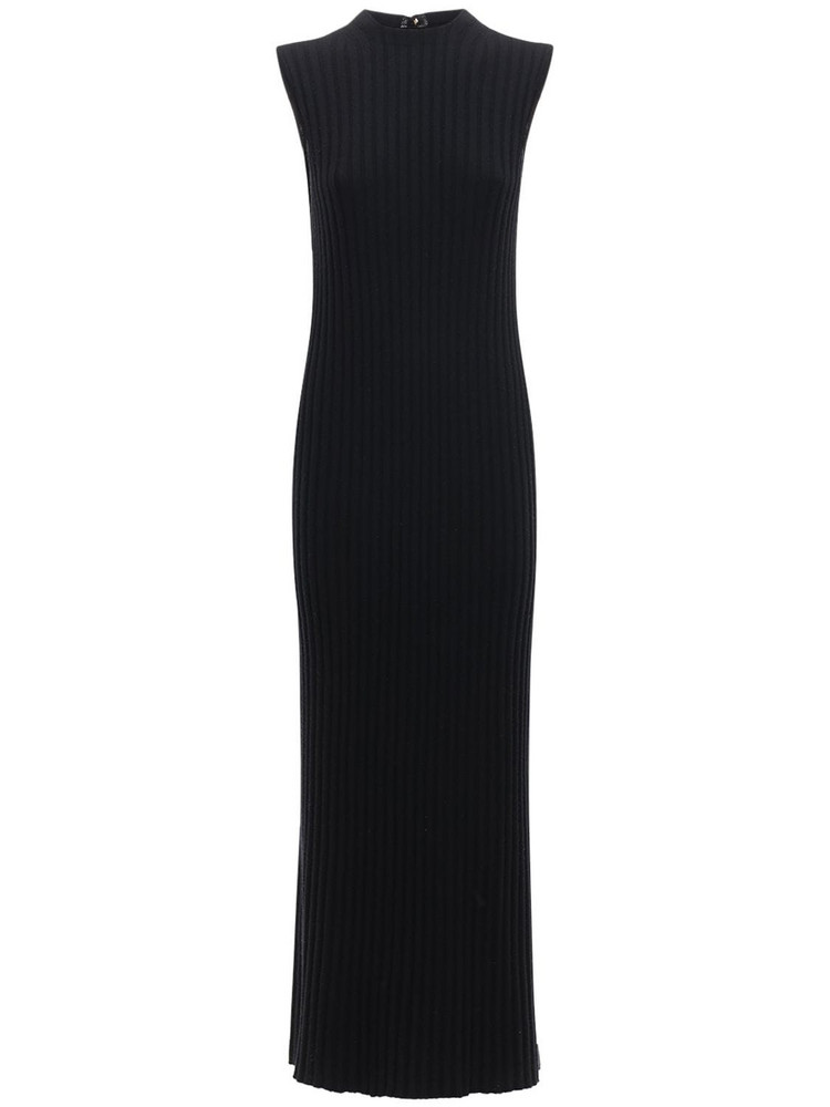 LOULOU STUDIO Andrott Wool & Cashmere Knit Long Dress in black