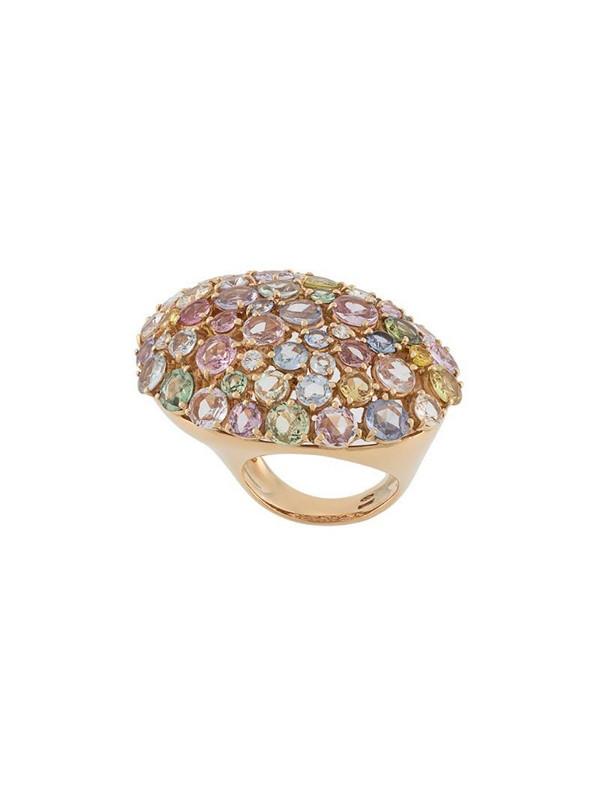 Gavello 18kt rose gold rainbow sapphire ring in metallic