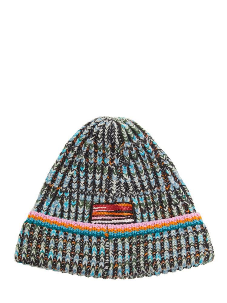 MISSONI Cost Inglese Wool Blend Knit Beanie in grey / multi