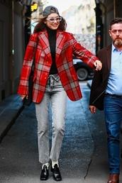 jacket,plaid,blazer,suit,gigi hadid,model off-duty,fall outfits,fashion week