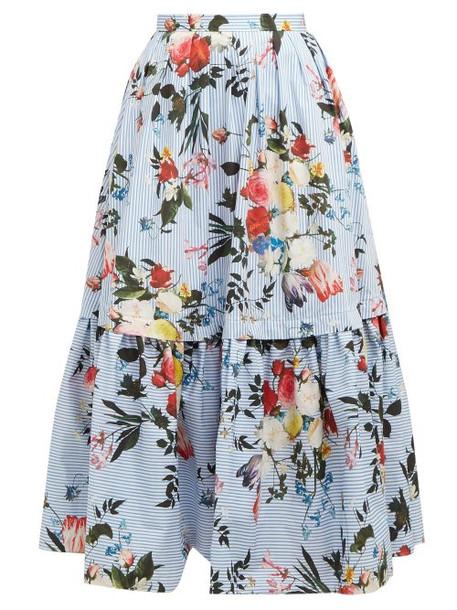 Erdem - Leigh Isabelle Print Tiered Cotton Poplin Skirt - Womens - Blue Print