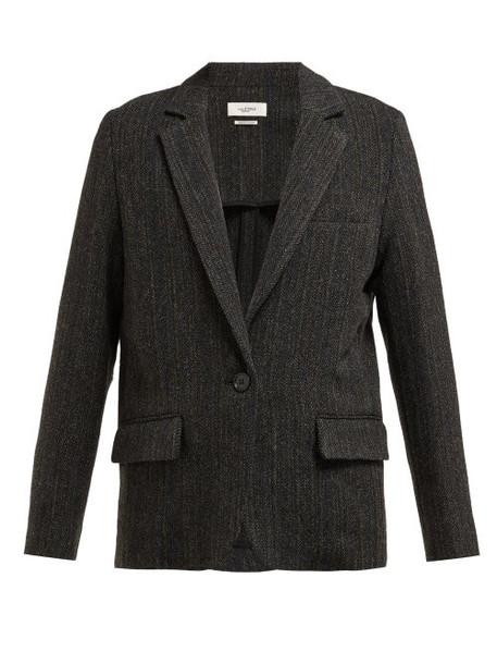 Isabel Marant Étoile - Charly Herringbone Tweed Virgin Wool Jacket - Womens - Black