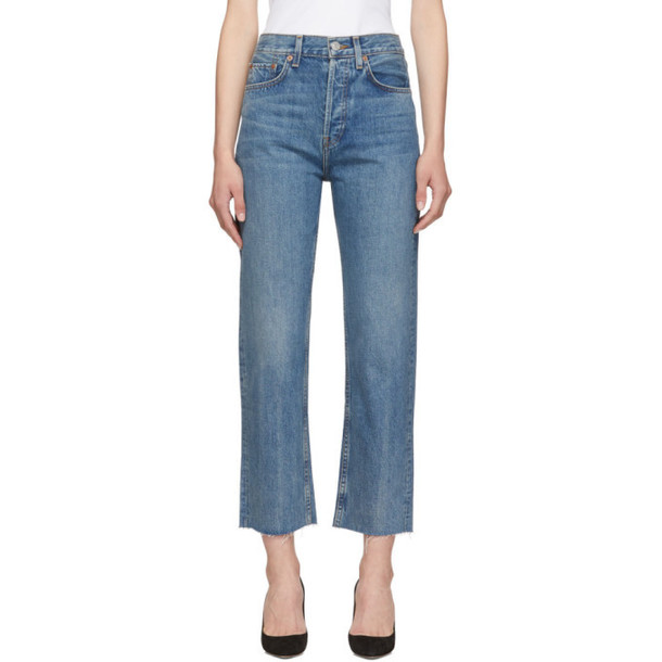 Re/Done Blue Originals High-Rise Stovepipe Jeans