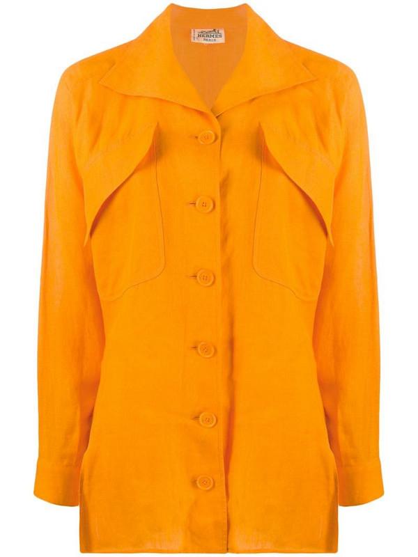 Hermès pre-owned oversized pockets shirt in orange