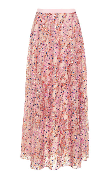 DELPOZO Sequined Chiffon Maxi Skirt Size: 34 in pink