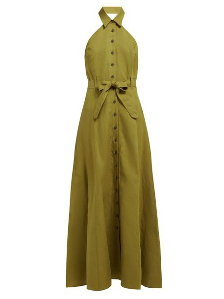 Mara Hoffman - Rosemary Halterneck Canvas Dress - Womens - Green