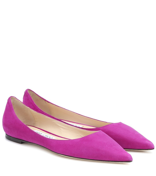 Jimmy Choo Exclusive to Mytheresa – Love suede ballet flats in purple
