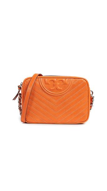 Tory Burch Fleming Distressed Camera Bag in orange