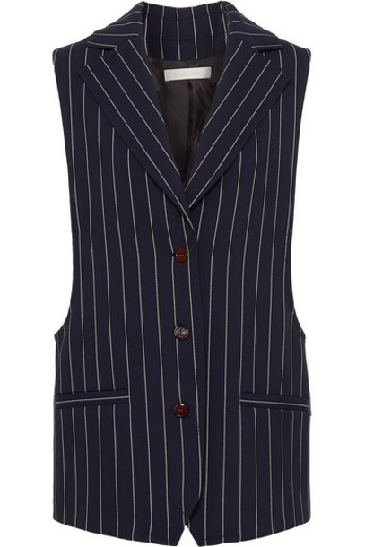 See By Chloé See By Chloé - Oversized Pinstriped Cady Vest - Navy