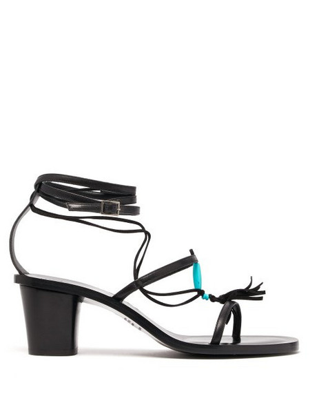 Álvaro Álvaro - X Kim Hersov Beaded Leather Sandals - Womens - Black Blue