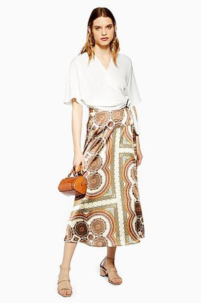 Topshop Paisley Satin Bias Wrap Midi Skirt - Multi