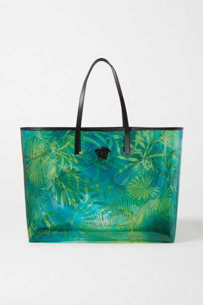 Versace - Jungle Embellished Printed Pvc Tote - Green