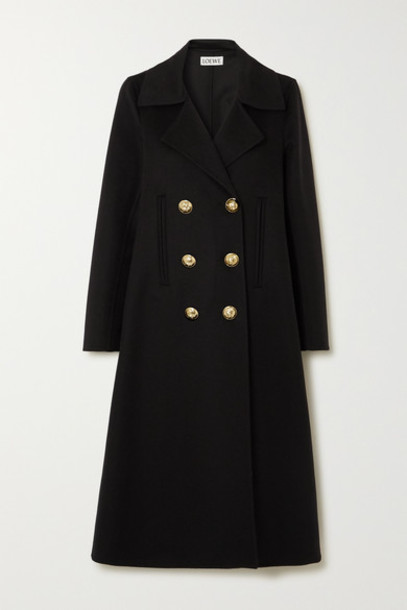 Loewe - Double-breasted Wool And Cashmere-blend Coat - Black