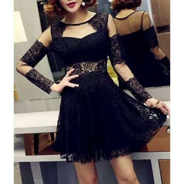 dress black fashion elegant party trendy romantic style trendsgal.com