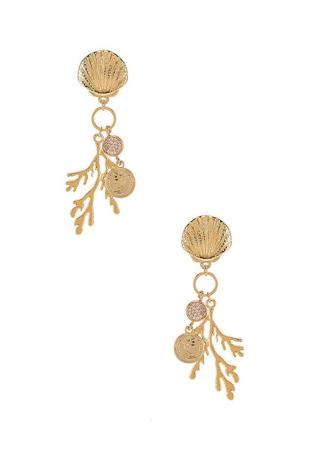 Ettika Shell & Coral Earring in gold / metallic