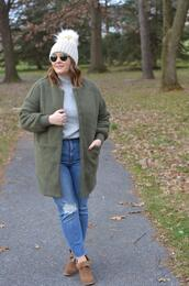 mommyinheels,blogger,jacket,sweater,jeans,shoes,hat,sunglasses