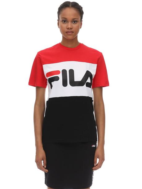 FILA URBAN Large Logo Cotton Jersey T-shirt in black / red / white