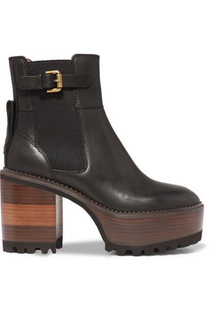 See By Chloé See By Chloé - Leather Platform Ankle Boots - Black