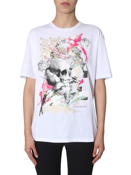 Alexander McQueen Gilded Skull Printed T-shirt in bianco