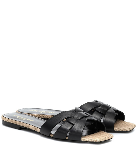 Saint Laurent Tribute Nu Pieds raffia sandals in black