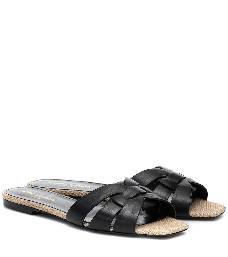 Saint Laurent Tribute Nu Pieds raffia sandals in black