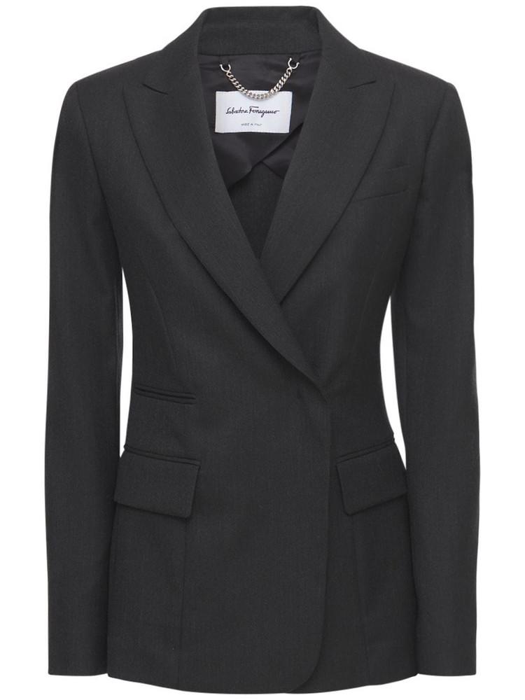 SALVATORE FERRAGAMO Single Breast Wool Blazer in black