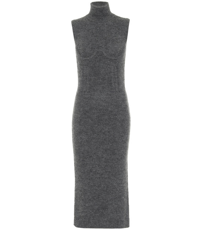 Fendi Turtleneck cashmere-blend midi dress in grey