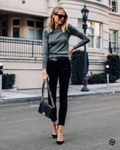 sweater,crewneck sweater,black shoes,pumps,black velvet pants,black bag,shoulder bag,black belt