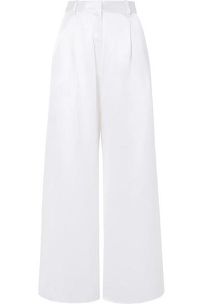 Michael Lo Sordo - Belle Silk-satin Wide-leg Pants - White