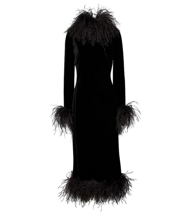 Saint Laurent Feather-trimmed velvet gown in black