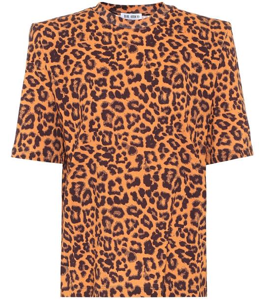 The Attico Leopard-print cotton T-shirt in brown