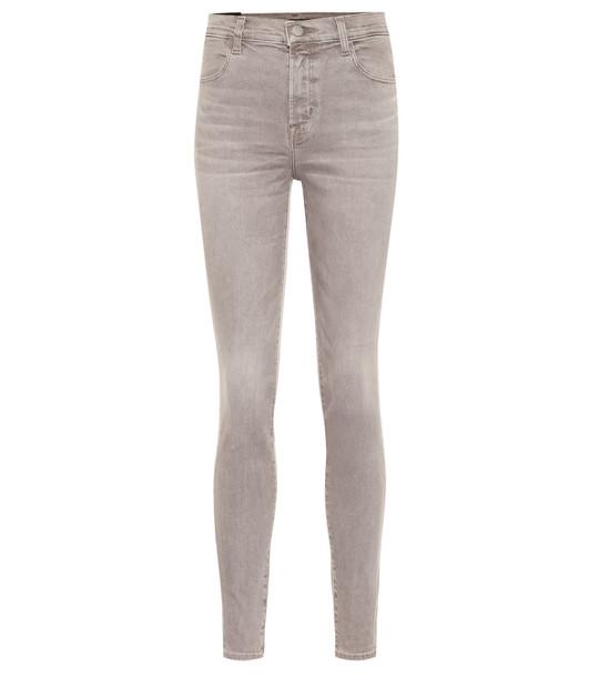 J Brand Maria high-rise skinny jeans in grey