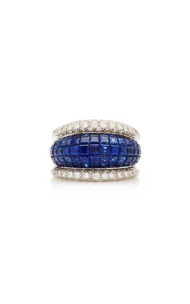 Eleuteri Vintage Platinum, Blue Sapphire and Diamond Ring Size: 7 in gold