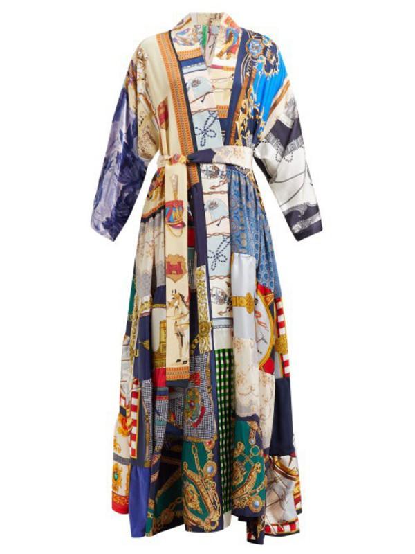 Rianna + Nina Rianna + Nina - Volant Patchwork Print Silk Kimono Coat - Womens - Multi